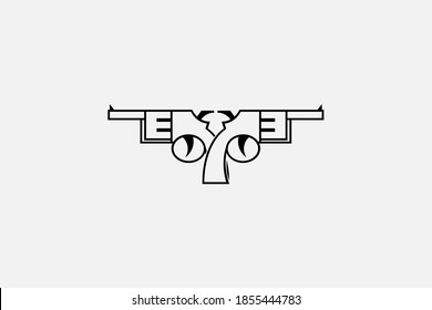 Two pistols logo in outline mode with transparent background