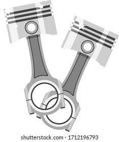 Two pistons with connecting rods, parts of an internal combustion engine on a white