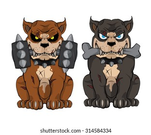 two PIT BULL cartoon vector