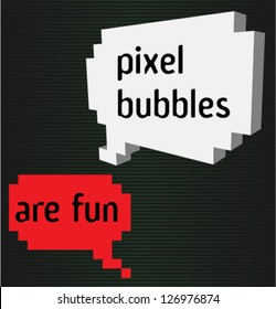 Two pixel bubbles with signs