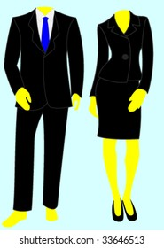 Two plain template business suits, one male and one female