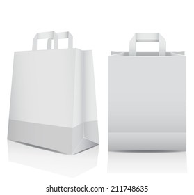 Two plain white recyclable, paper shopping carrier bags with reflections and copyspace for your branding, marketing or advertising, vector illustration