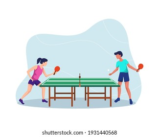 Two players play table tennis. Table tennis players, Boy and girl playing ping pong, Having fun play ping pong. Athletes vector illustration, Table tennis ping pong match. Vector in a flat style