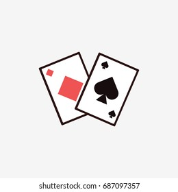 Two playing cards. Spades and diamonds. Isolated on white. Flat vector stock illustration.