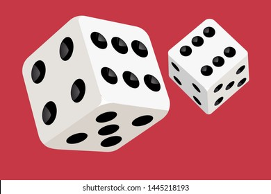 Two playing dice flying in the air