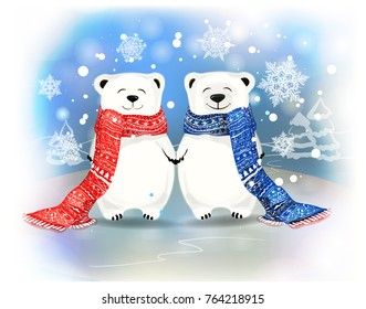 two polar bears on blue background with beautiful snowflakes.Vector cartoon character,Christmas greeting card.New-year theme