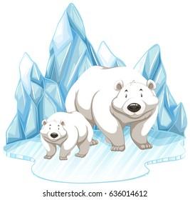 Two polar bears on iceberg illustration