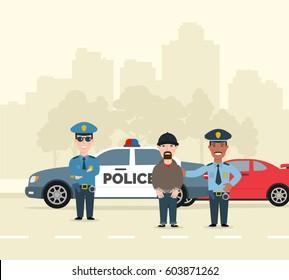 two police men arresting a criminal