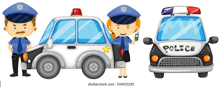 Two police officers by the police car illustration