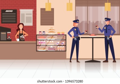 Two police workers drinking coffee in cafe store shop. Vector flat graphic design cartoon illustration