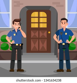 Two Policemen at Door Flat Vector Illustration. Happy Guardians with Radio Transmitter near House Cartoon Characters. Security Agency Staff. Police Officers on Mission. Property Protection