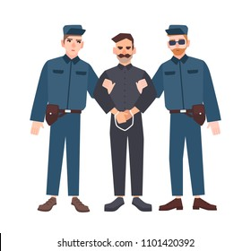 Two policemen in uniform holding male criminal or prisoner in handcuffs. Arrested man escorted by pair of police officers. Flat cartoon characters isolated on white background. Vector illustration