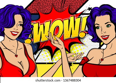 Two pop art wow face women. Wow, omg emotion. Comic book style. Blue hair girl pin up art. Halftone background. Female cartoon character. Happy smile surprised emotion.