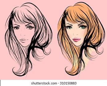 Two portraits of a girl for fashion salon banner or logo