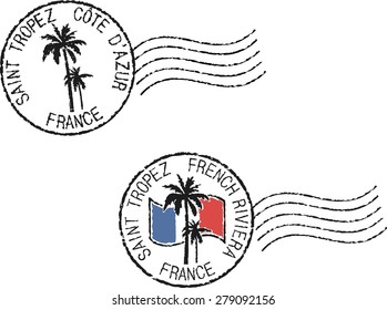 Two postal grunge stamps 'Saint Tropez'. French and english inscription.