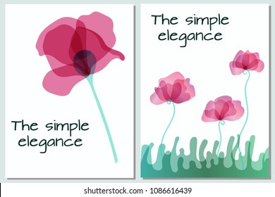 Two postcard with poppy. Petals  on multiply. In first picture the one poppy. In two picture the three poppies and grass. object with transparent. EPS 10