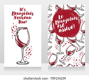 Two posters for Beaujolais Nouveau, can be used as menu cover for wine bar or as invitations for wine party, vector illustration