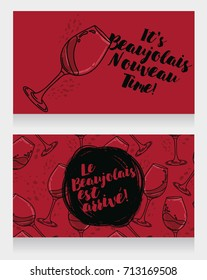 Two posters for Beaujolais Nouveau, can be used as menu cover for wine bar or as invitations for wine party, marsala color, vector illustration