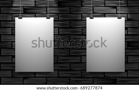 Two Posters On Black Brick Wall Stock Vector (Royalty Free