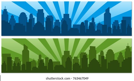 Two posters with sunrise and modern silhouette city in Pop art style. Comics book design background. Vector illustration retro style