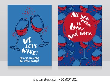 Two posters for wine party, can be used as menu cover for wine bar, blue and red colors, vector illustration
