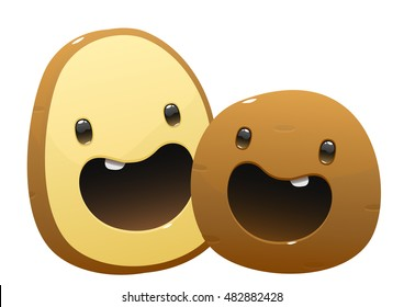 two potato cartoon character bright juicy on a white background isolated