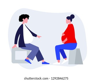 Two pregnant women sitting and chatting at childbirth preparation courses. Pregnancy support, prenatal psychology help. Happy motherhood trendy flat vector illustration.