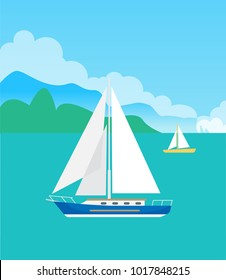 Two pretty sailboats, color vector illustration with pair of blue and yellow vessels, round clouds, shiny day, calm sea, green mountains silhouette