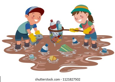 Two primary school children cleaned up the dirty river from the rubbish. Great for Children Illustration.