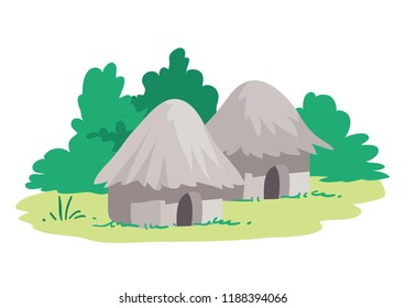 Two primitive reed, grass or mud huts