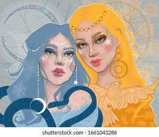 two princess girls: day and night, winter and spring, personifying the equinox