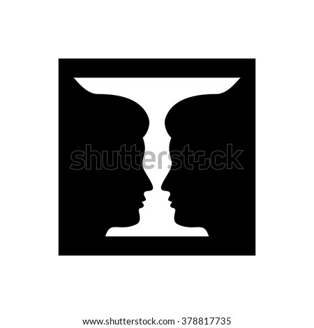Two Profile Face Human Vase Stock Vector Royalty Free 378817735
