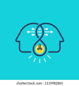 Two profile faces with light bulb. Brainstorming infographics. Vector illustration.