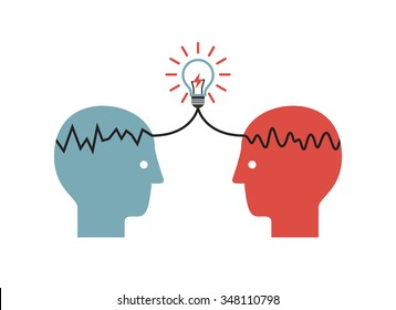 Two profile faces with light bulb. Concept of business idea and brainstorming infographics.