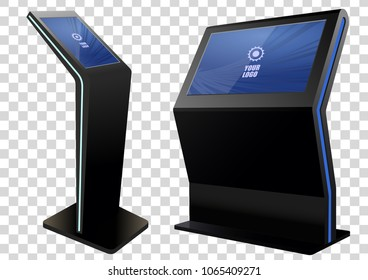 Two Promotional Interactive Information Kiosk, Advertising Display, Terminal Stand, Touch Screen Display. Mock Up Template.