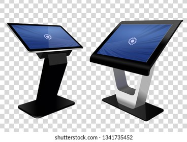 Two Promotional Interactive Information Kiosk, Advertising Display, Terminal Stand, Touch Screen Display isolated on transparent background. Mock Up Template.