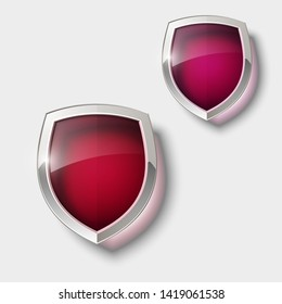 Two Protect guard color glass shield concept. Safety badge protection icon. Privacy transparent banner shield. Security glass label. Presentation 2 transparent sticker shield. Defense safeguard badge