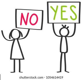 Two protesting stick figures, man and woman holding up boards saying YES and NO isolated on white background