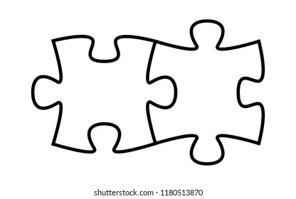 Two puzzle pieces fitting together.  Outline version. Vector.