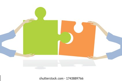 Two puzzle pieces put togheter by hands. Vector illustration.