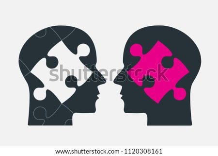 two puzzle pieces silhouette heads vector stock vector royalty free