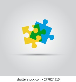 two puzzle pieces vector isolated colored logo