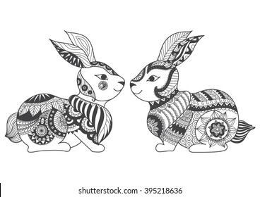 Two rabbits zentangle stylized for coloring book for adult, tattoo, t shirt design, cards and so n