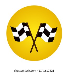 Two racing flags. Finish and start of competition. Speed icon, winner icon. Flat vector illustration.