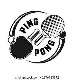 Two rackets for ping pong or table tennis vector logo concept isolated on white background