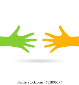 Two reaching hands vector eps web icon