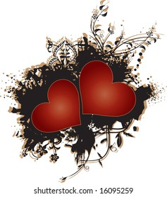 Two read hearts set against a grunge brown texture with floral ornaments
