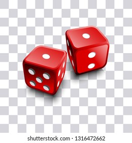 Two realistic 3D dice on transparent background vector illustration