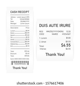 Two realistic cash receipt on white background. Vector illustration.