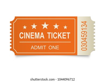 Two realistic cinema tickets on the white backgraund. Vector illustration